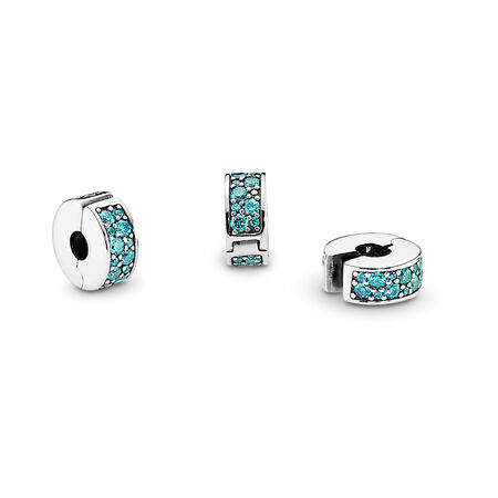 Shining Elegance Clip, Teal CZ, Sterling silver, Silicone, Turquoise, Cubic Zirconia - PANDORA - #791817MCZ