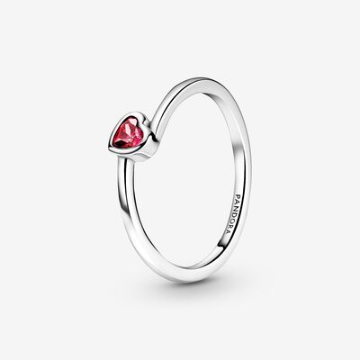 Red Tilted Heart Solitaire Ring , Silver
