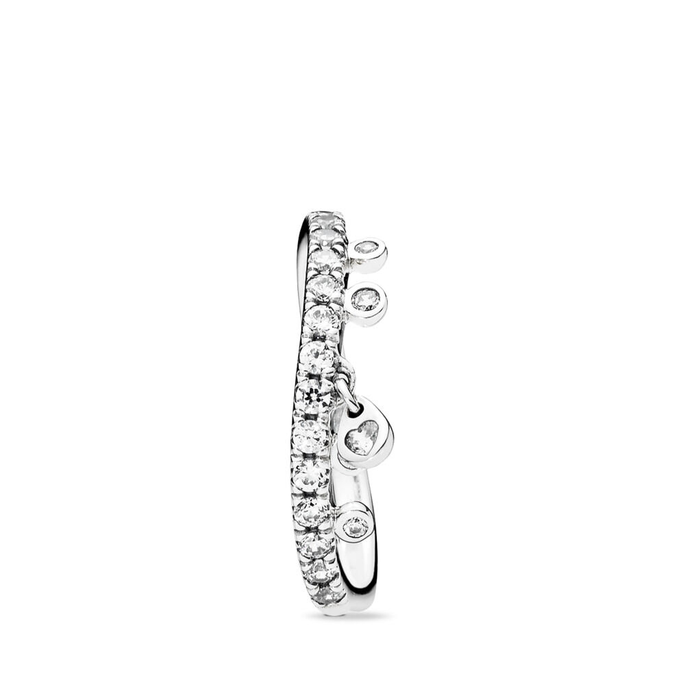 957b26e6cc222 Chandelier Droplets Ring, Clear CZ Sterling silver, Cubic Zirconia