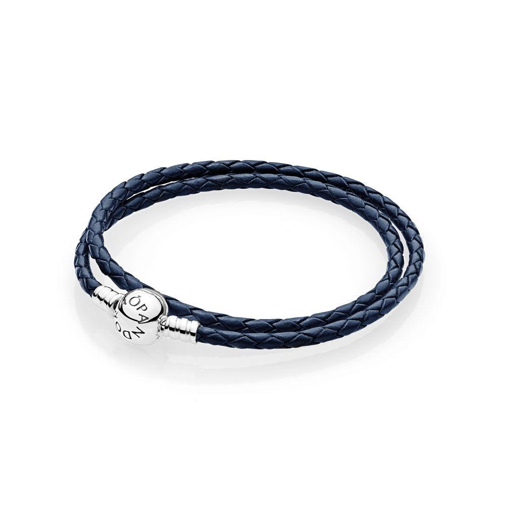Dark Blue Braided Double Leather Charm Bracelet Pandora