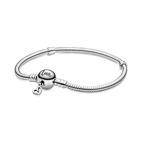 Snake chain sterling silver bracelet with round clasp