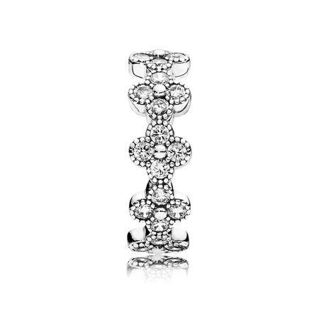 Oriental Blossom Ring, Clear CZ, Sterling silver, Cubic Zirconia - PANDORA - #191000CZ