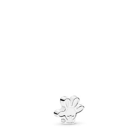 Disney, Mickey Glove Petite Locket Charm, White Enamel, Sterling silver, Enamel, White - PANDORA - #796349EN12