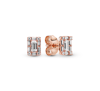 Sparkling Square Halo Stud Earrings