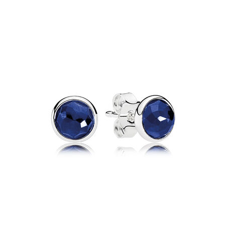 September Droplets Stud Earrings, Synthetic Sapphire