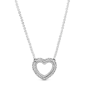 Pavé Snake Chain Pattern Open Heart Collier Necklace