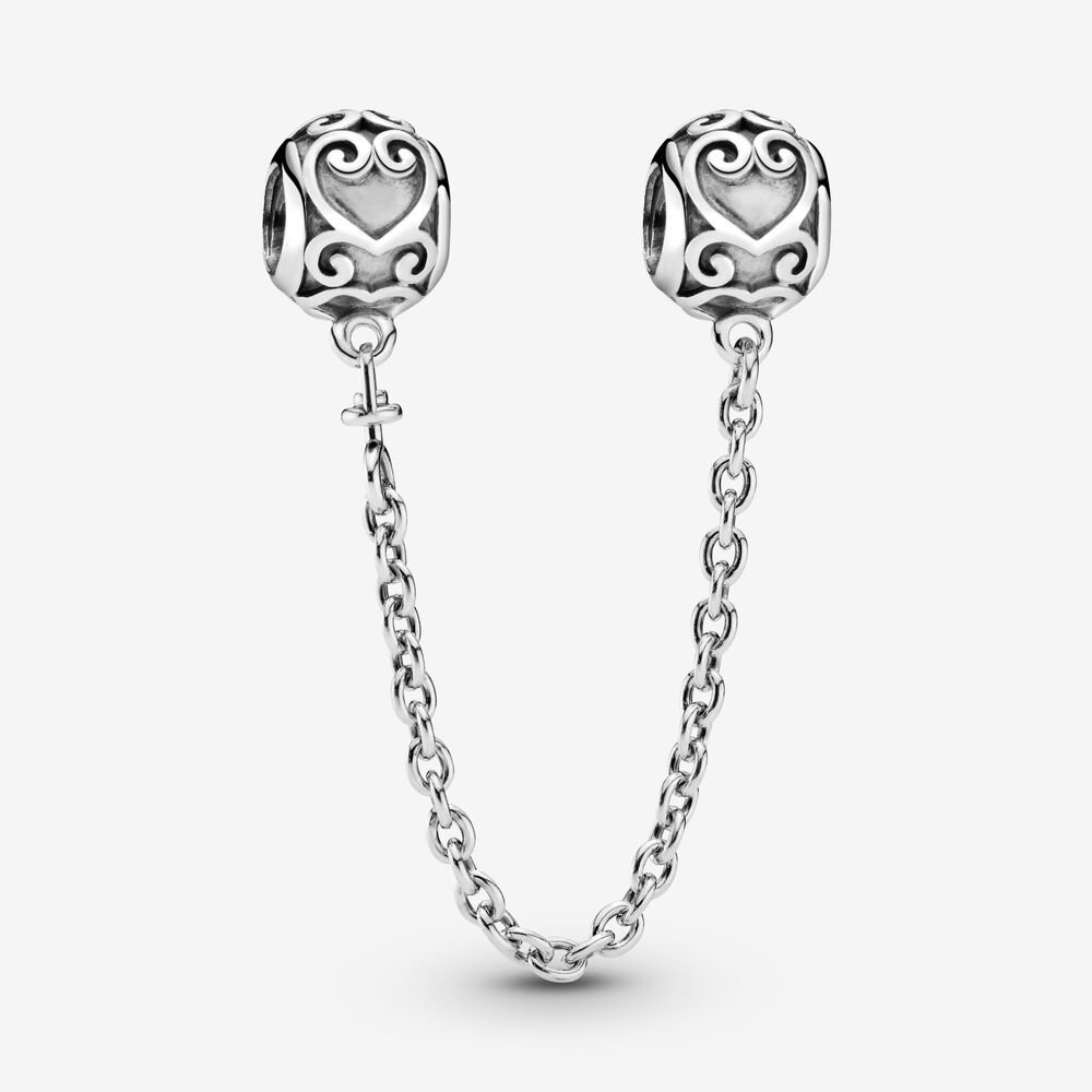 Ornate Hearts Safety Chain Charm