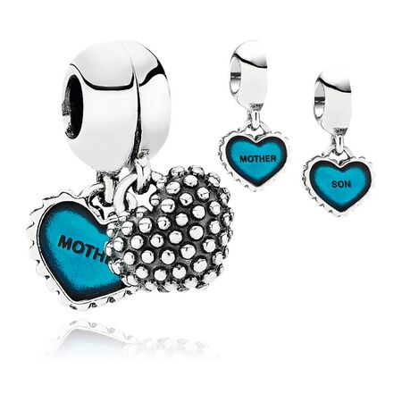 Piece Of My Heart, Son, Two-Part Dangle Charm, Turquoise Enamel
