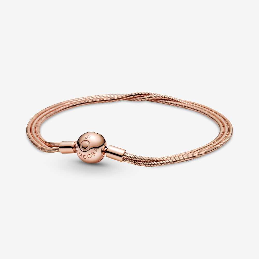 Pandora Moments Multi Snake Chain Bracelet | Rose gold plated ...