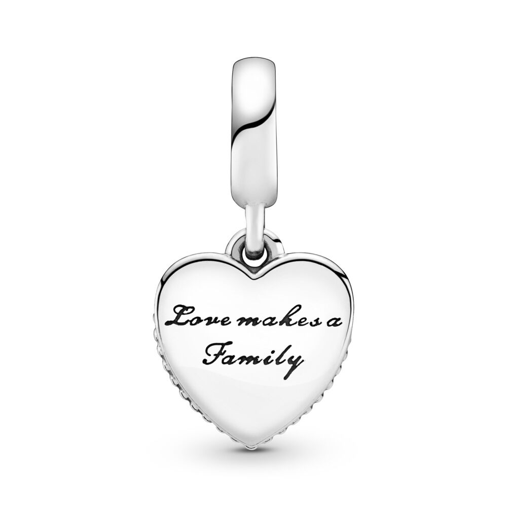 01359fa10 Love Makes A Family Dangle Charm, Pink Enamel & Clear CZ, Sterling silver,