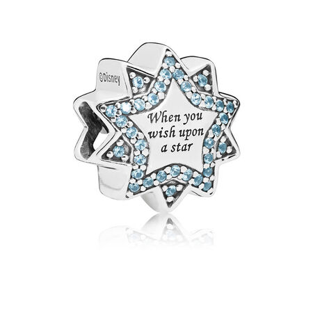 Disney, When You Wish Upon A Star Charm, Light Blue Enamels & Crystals
