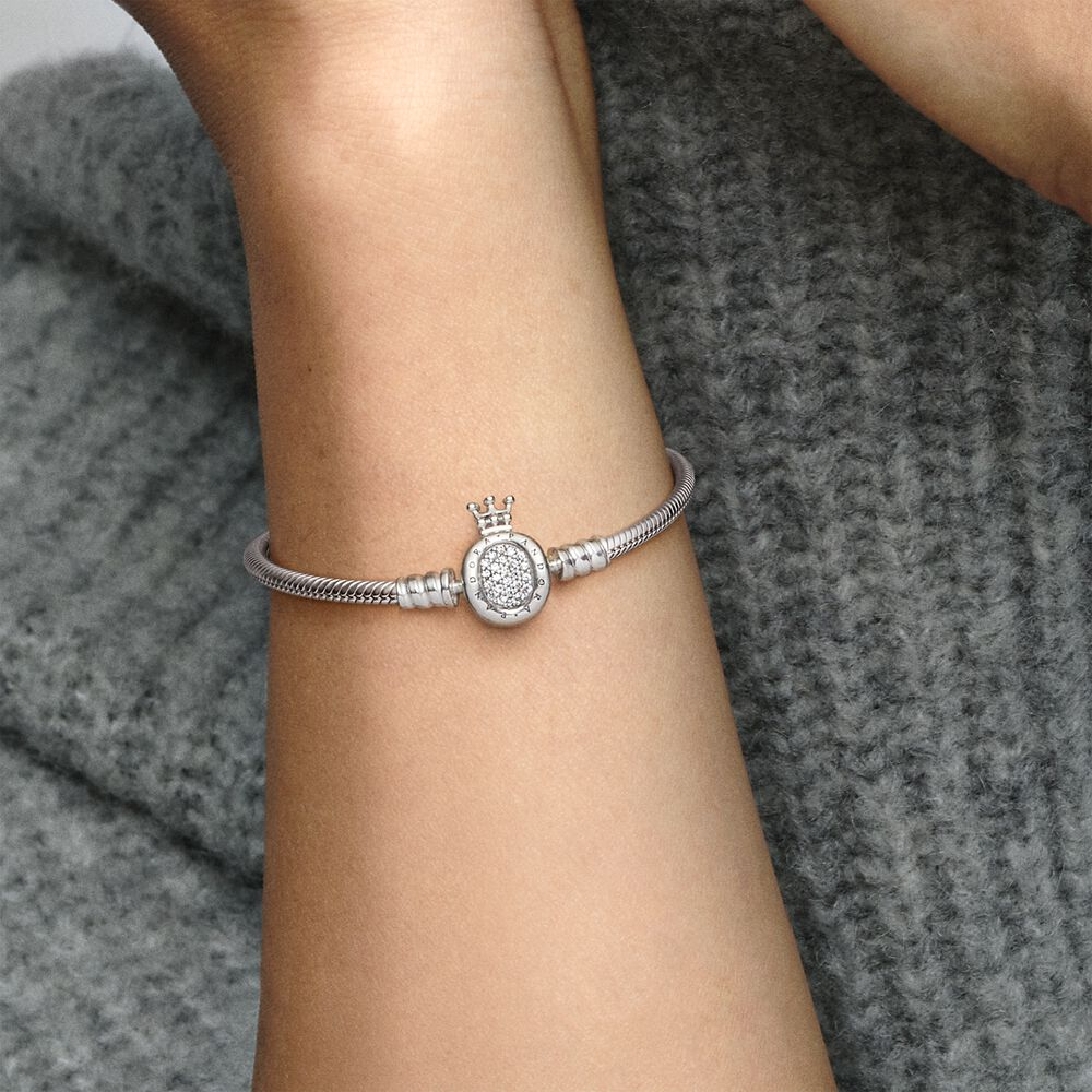 Pandora Moments Crown O Clasp Snake Chain Bracelet | Sterling ...