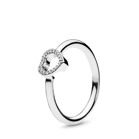 Puzzle Heart Frame Ring, Clear CZ