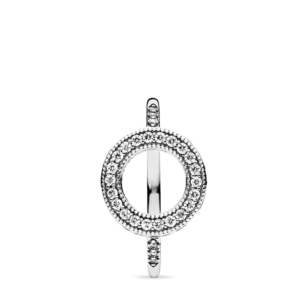 33f80f9a8 Hearts of PANDORA Halo Ring, Clear CZ, Sterling silver, Cubic Zirconia -  PANDORA