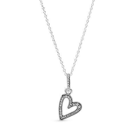 Heart sterling silver pendant with clear cubic zirconia and necklace
