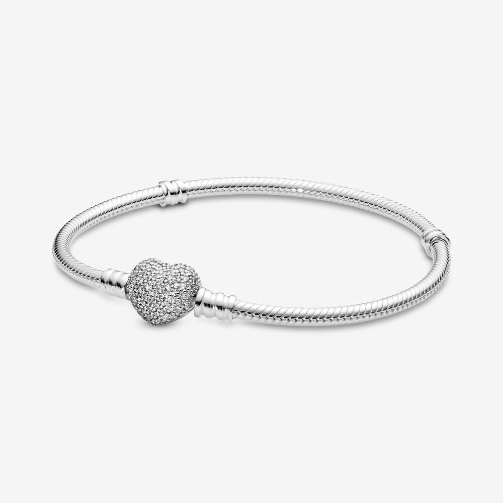 Pandora Moments Sparkling Heart Clasp Snake Chain Bracelet