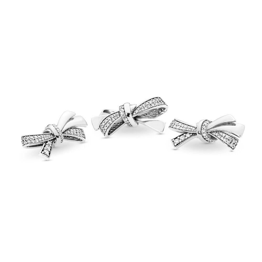 abdf95b90 Brilliant Bow Charm, Clear CZ, Sterling silver, Cubic Zirconia - PANDORA - #