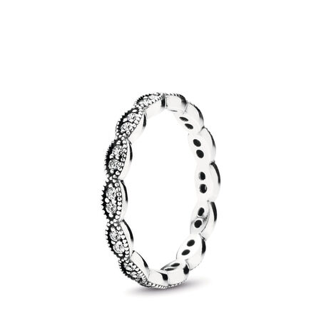 Sparkling Leaves Stackable Ring, Clear CZ