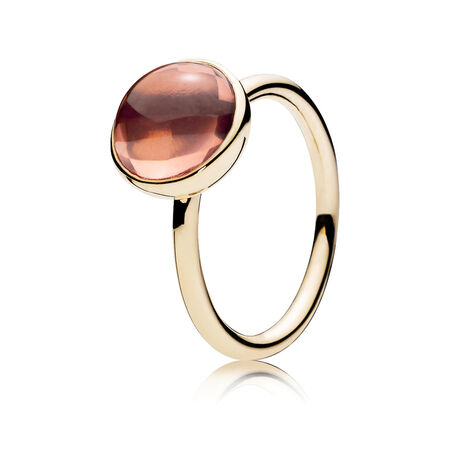 Poetic Droplet Ring, 14K Gold & Blush Pink Crystal