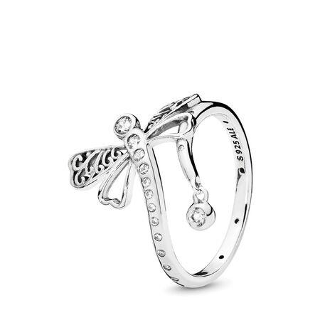 Dreamy Dragonfly Ring, Clear CZ