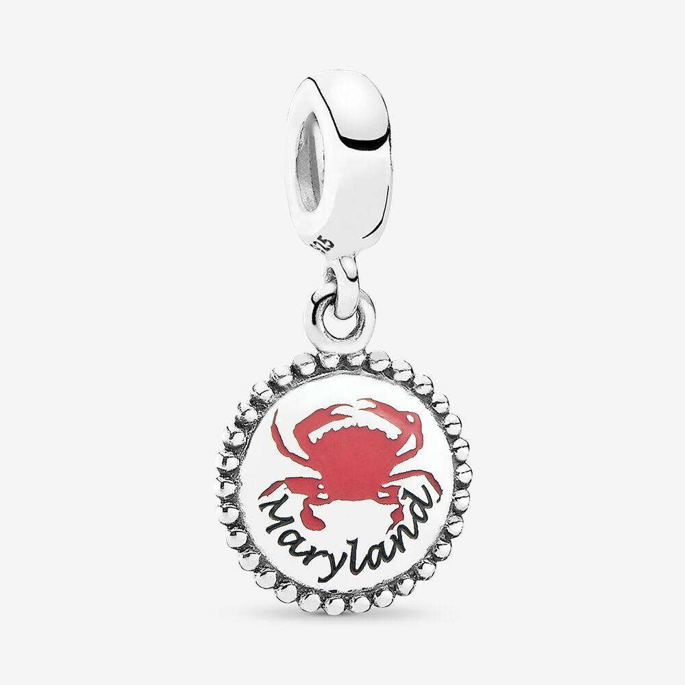 Maryland Crab Dangle Charm, Mixed Enamel