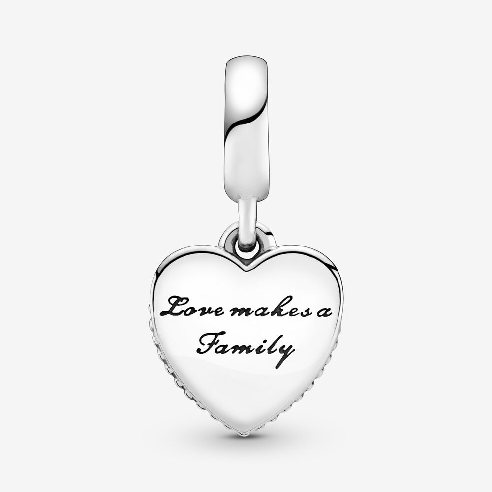 Love Makes A Family Dangle Charm with Pink Heart | Sterling silver ...