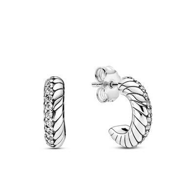 Pavé Snake Chain Pattern Hoop Earrings