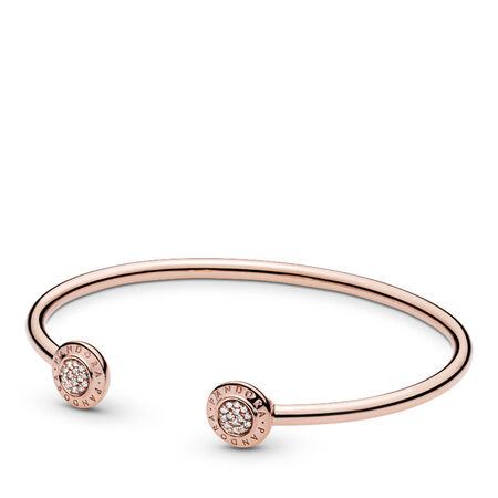 PANDORA Signature Open Bangle Bracelet, PANDORA Rose™