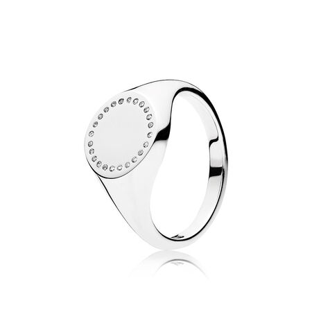 Circle Signet Ring, Clear CZ