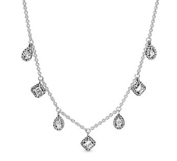 Sterling silver collier with clear cubic zirconia