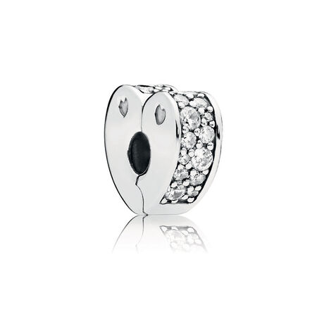 Sparkling Arcs of Love Clip, Clear CZ