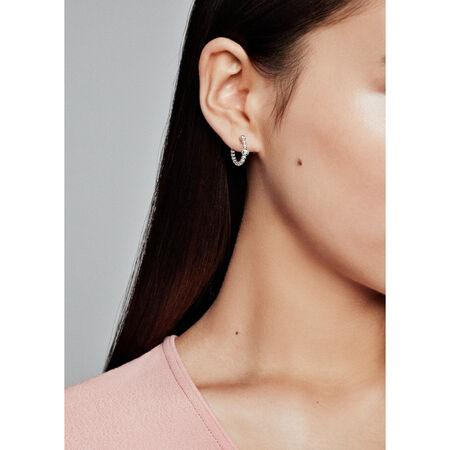 String of Beads Hoop Earrings, Sterling silver - PANDORA - #297532