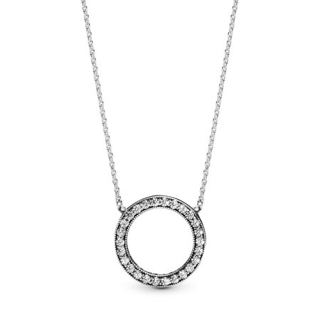 Hearts of PANDORA Pendant Necklace, Clear CZ, Sterling silver, Cubic Zirconia - PANDORA - #590514CZ