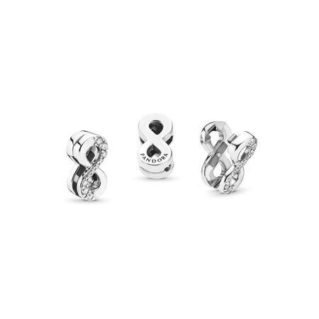 PANDORA Reflexions™ Sparkling Infinity Clip Charm, Clear CZ, Sterling silver, Silicone, Cubic Zirconia - PANDORA - #797580CZ