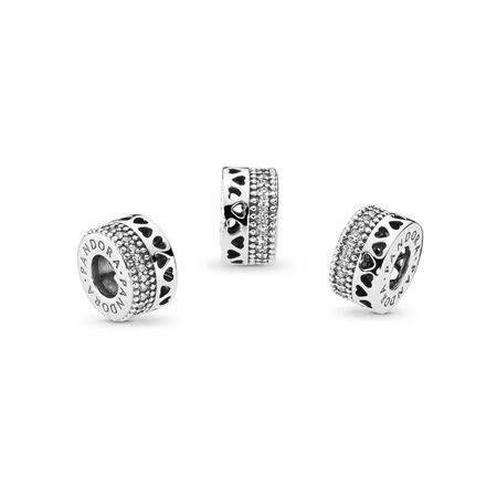 Hearts of PANDORA Charm, Clear CZ