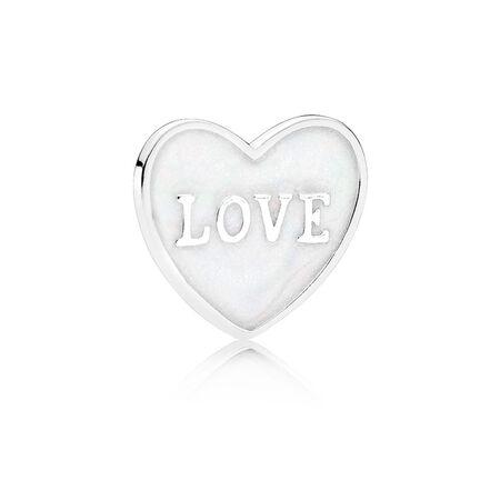 Love Heart Locket Plate, Small, Silver Enamel