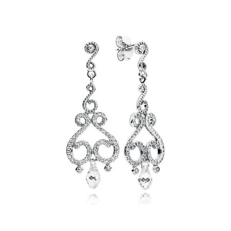 Swirling Chandeliers Drop Earrings, Clear CZ