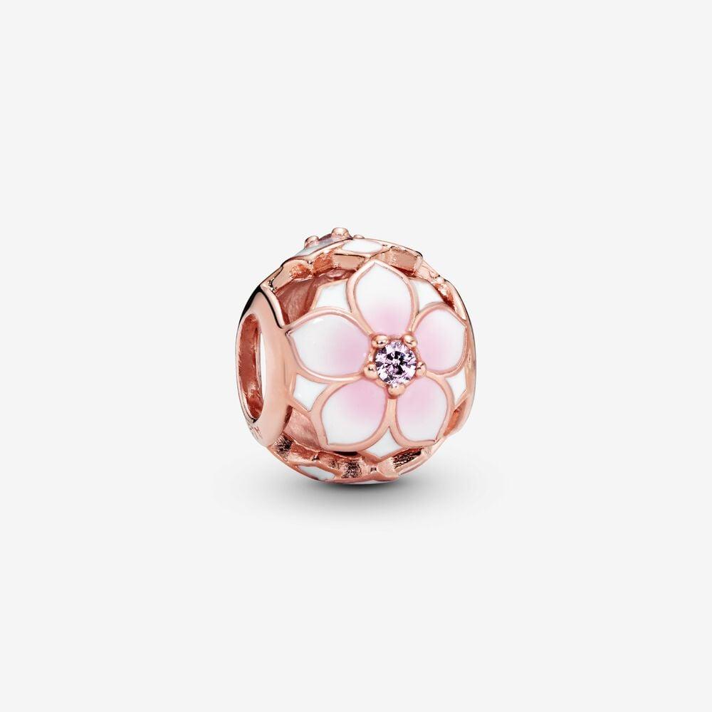 Openwork Pink Magnolia Flower Charm