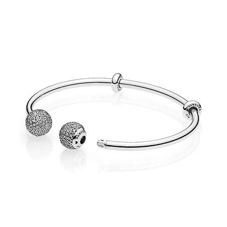 Open Bangle Bracelet, Clear CZ