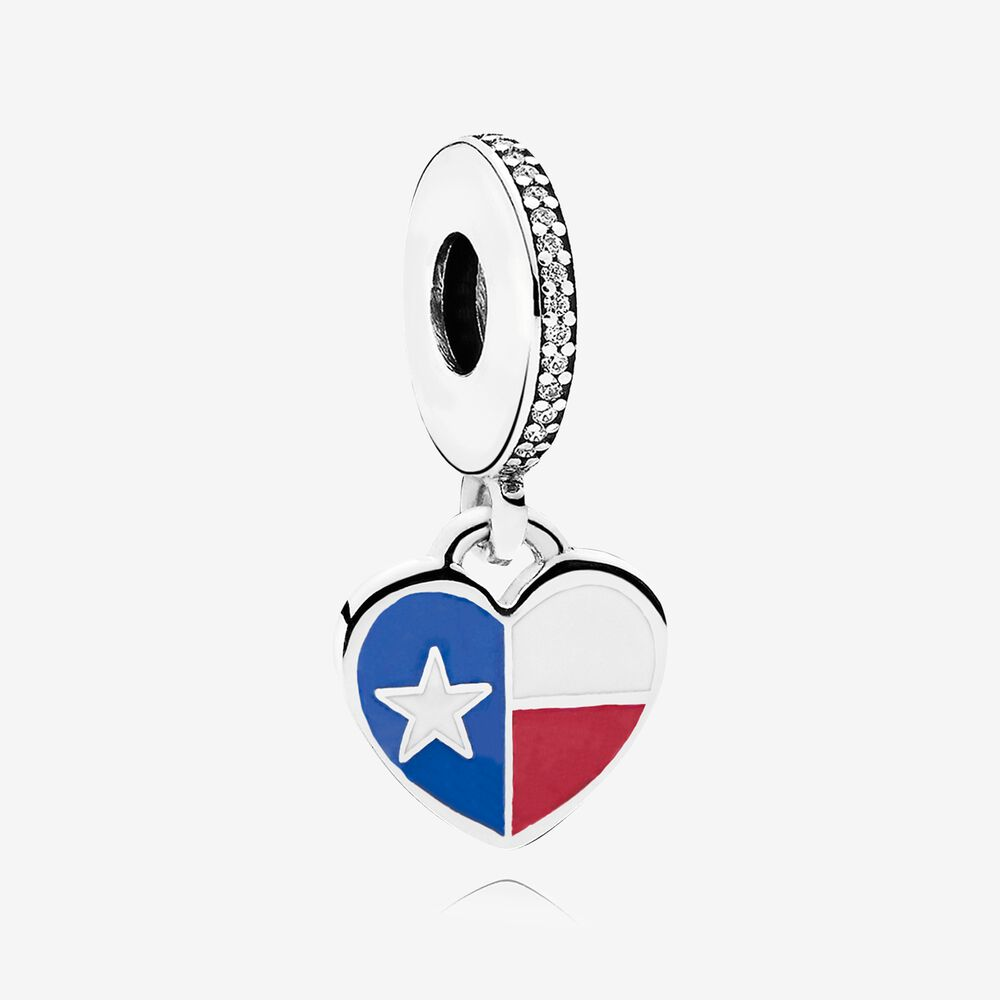 Texas Flag Heart Dangle Charm, Mixed Enamel