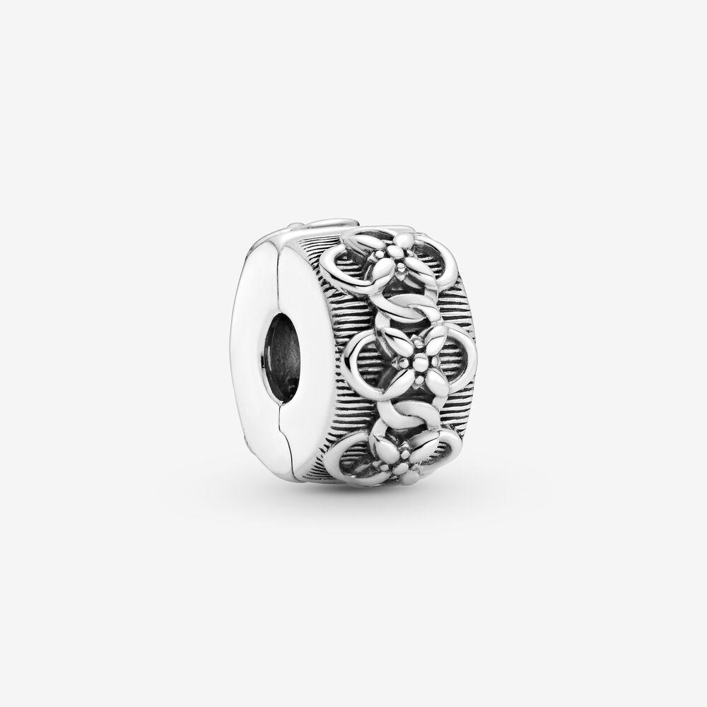 Flower Pattern Clip Charm   Sterling silver   Pandora US