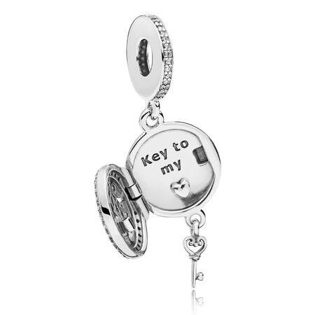 Regal Love Key Dangle Charm, Clear CZ