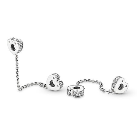 Sparkling Arcs of Love Safety Chain, Clear CZ, Sterling silver, Cubic Zirconia - PANDORA - #797138CZ