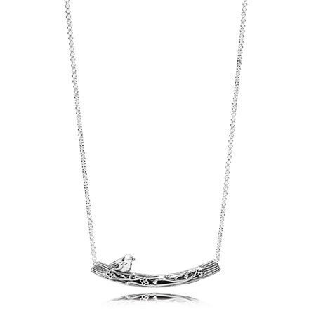 Spring Bird Curved Bar Necklace