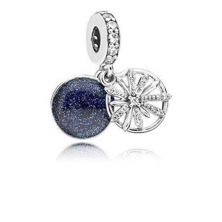 Dazzling Wishes Dangle Charm, Clear CZ & Blue Enamel