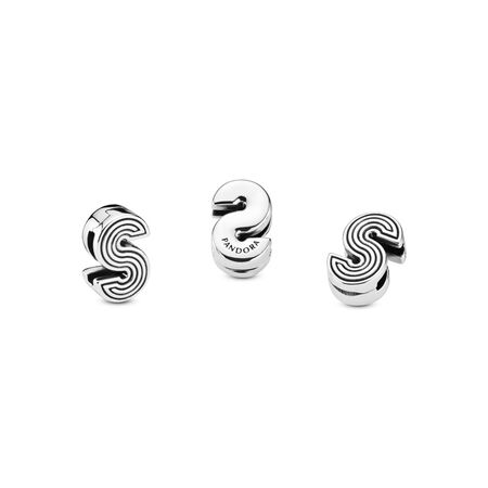 Pandora Reflexions™ Letter S Clip Charm, Sterling silver, Silicone - PANDORA - #798215