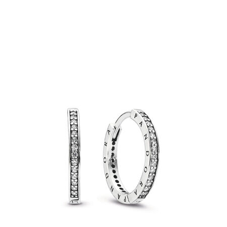 5173f918c PANDORA Signature Hoop Earrings, Clear CZ Sterling silver, Cubic Zirconia