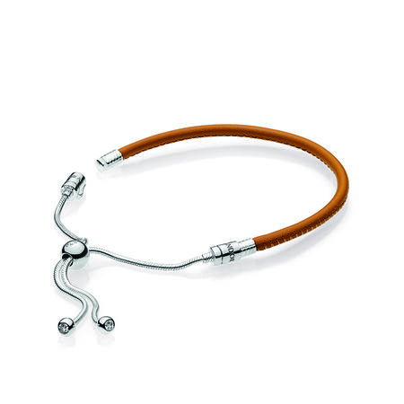 Sliding Golden Tan Leather Bracelet, Clear CZ