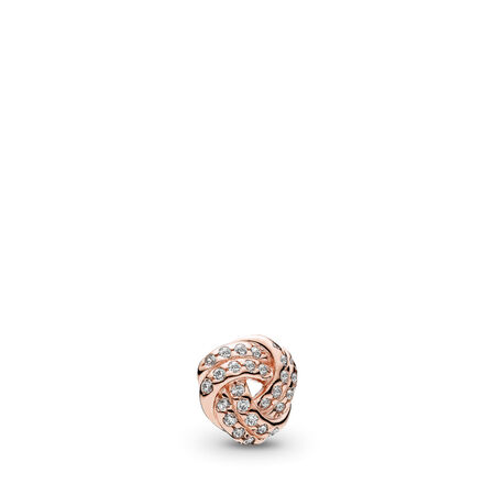 Sparkling Love Knot Petite Locket Charm, PANDORA Rose™ & Clear CZ, PANDORA Rose, Cubic Zirconia - PANDORA - #782179CZ