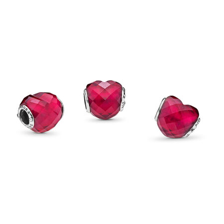 Fuchsia Shape of Love Charm, Fuchsia Rose Crystal